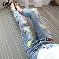 Mujeres pantalones vaqueros novio más el tamaño del agujero rasgado suelta denim pantalones mujer pantalones vaqueros de las señoras pantalones vaqueros apliques mediados de cintura S-XL
