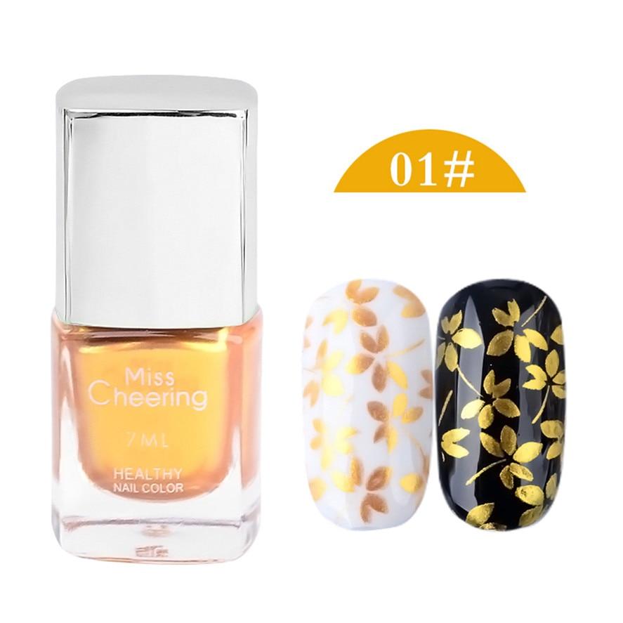 Новый misscheering 1 бутылка 7 мл Желтый Лак для ногтей высокое качество штамп польской Дизайн ногтей тиснения лак Лаки спрей довольно