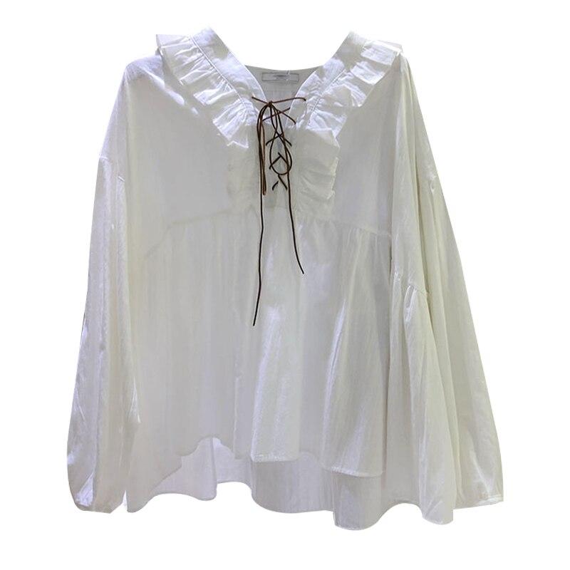 Primavera Color Suelta Mujeres Cruz Nueva Borde Sólido De Tops 1 Dd73 Camisa Cordón 2 Moda CdwqU
