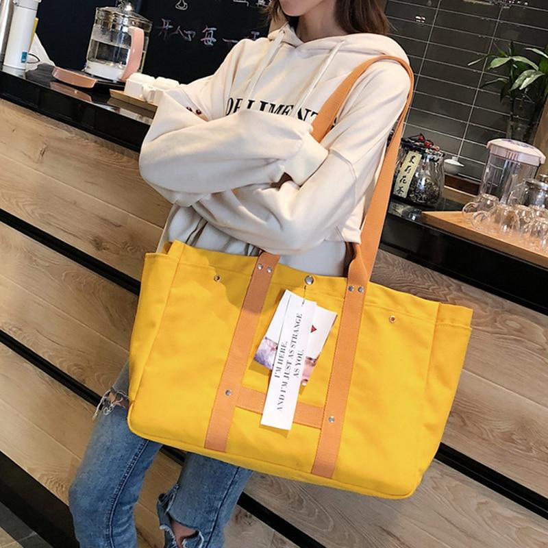 Bolso de mano de lona bolso de compras de mujer bolso de mano de ocio de estilo Simple disponible para bolsas personalizadas-in Bolsas para compras from Maletas y bolsas    3