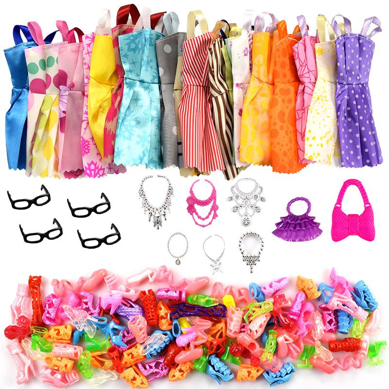 32 Item/Set Doll Accessories=10 Pcs Doll Clothes Dress+4 Glasses+6 Plastic Necklace+2 Handbag+10 Pairs Shoes for Barbie doll(China)