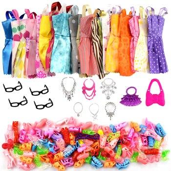 32 قطعة/المجموعة إكسسوارات دمي = 10 قطعة ملابس دمى فستان 4 نظارات 6 البلاستيك قلادة 2 حقيبة 10 أزواج الأحذية ل دمية باربي