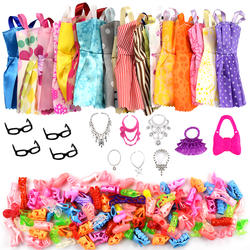 32 товара/комплект аксессуары для кукол = 10 шт. одежда куклы, платье + 4 очки + 6 пластиковое ожерелье + 2 сумки + 10 пар обувь для Барби Кукла