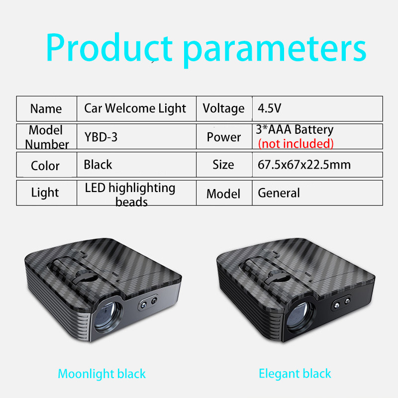 1pcs New car door wireless welcome lamp universal projection lamp wireless spotlight infrared sensor light for car All model (10)