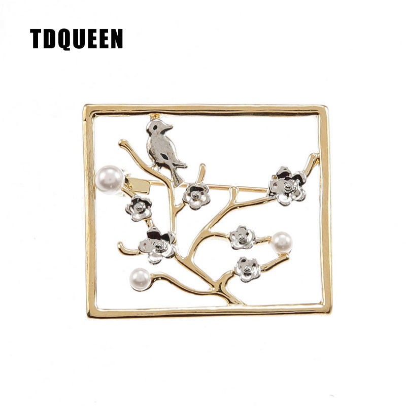 Gold color Flower Brooches for Women Party Zinc Alloy Square Pin Jewelry Fashion Simulated Pearl Metal Bird Pins and Brooches