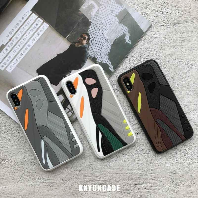 حافظة لهاتف iphone 6 S 7 7plus 8 8plus X 10 XR XS Max فاخر موديل 350 boost v2 ثلاثية الأبعاد 700 من Kanye