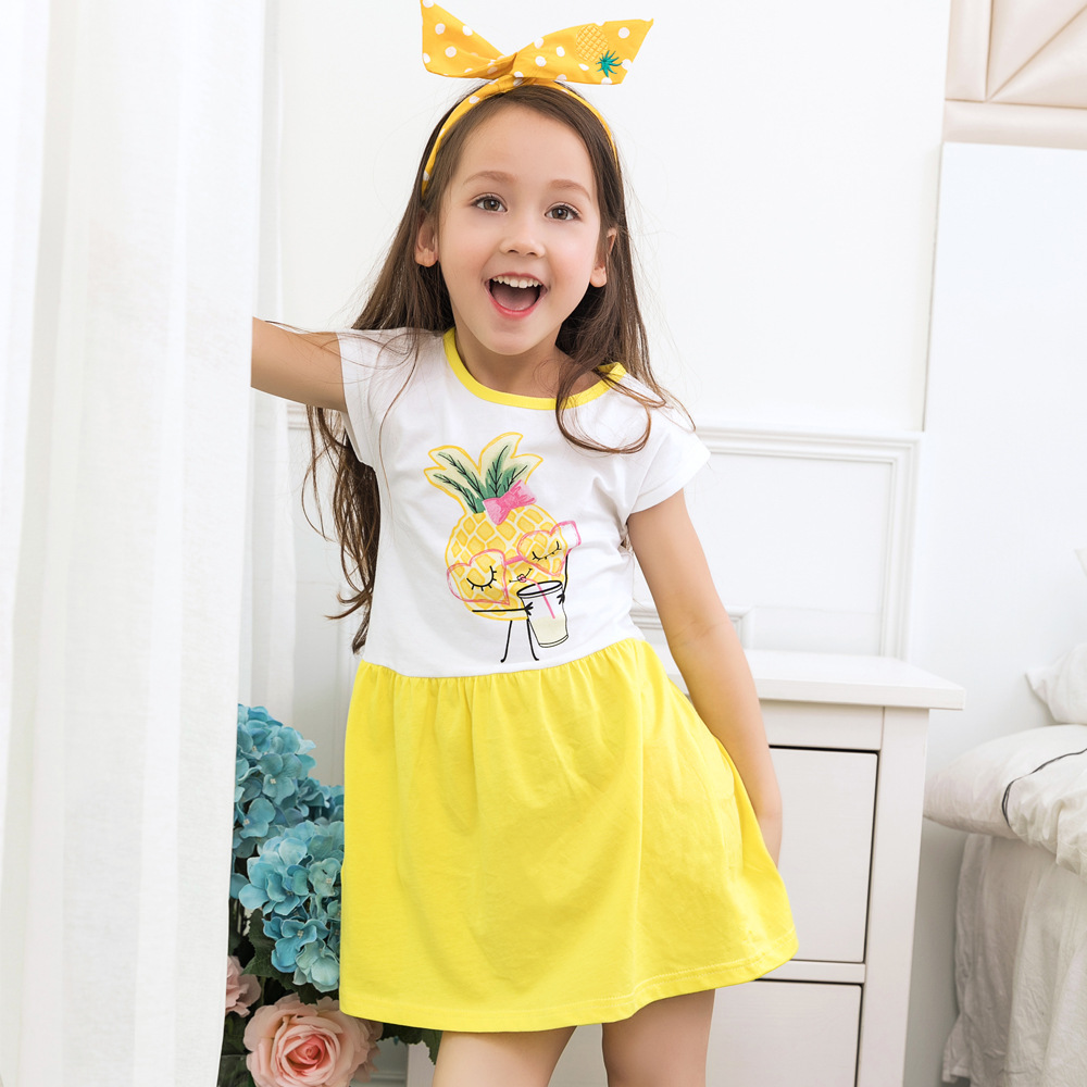 CN-RUBR Cartoon Pineapple Printed Girls Dress Summer Casual Princess Party Dresses For Kids Girl Cotton Children Clothes summer kids dresses for girls pineapple lemon girl dresses cotton sleeveless children sundress sarafan clothes for girls 2 7y