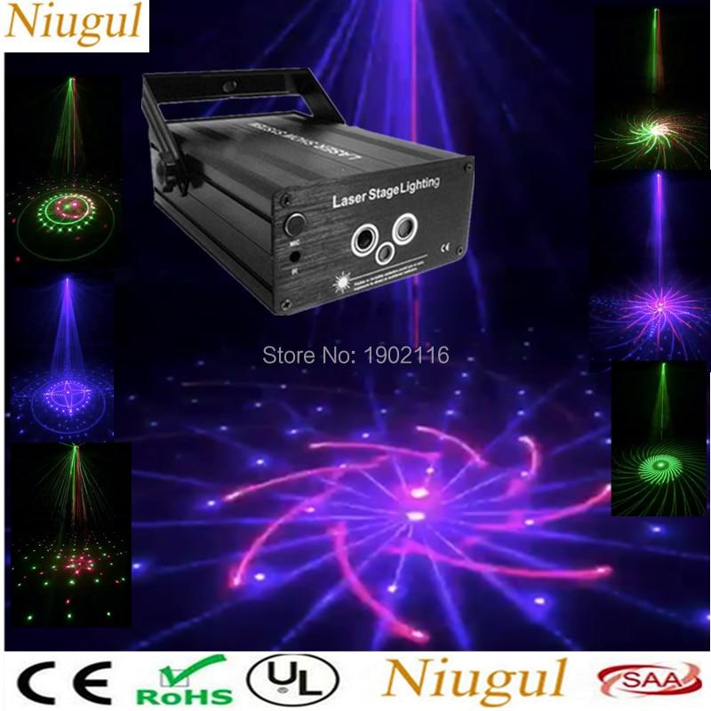 цена на Niugul Laser Lights Music Show DJ Big Patterns Combinations Laser Gobos Projector Indoor 3 Lens 3 Color RGB Decoration Light