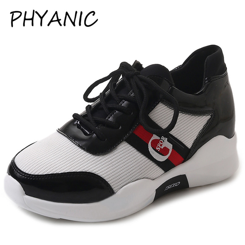 PHYANIC Women Sneakers 2018 New Fashion Womens Vulcanize Shoes Leather Mesh Shoes Casual Sneakers For Woman Black PHY4114