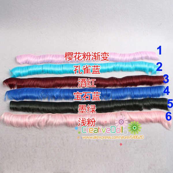 Gratis verzending 1 stks 5 cm golf DIY korte haar/pruiken groen blauw zwart roze kleur haar voor 1/3 1/4 1/6 BJD pop