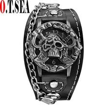 цена Top O.T.SEA Brand Pirates Skull Leather Watch Men Women Fashion Sports Quartz Wrist Watch Clock Relogio Masculino 1831-6 онлайн в 2017 году