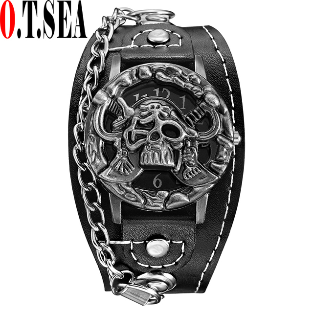 Hot Sales O.T.SEA Brand Pirates Skull Leather Watch Men Military Sports Quartz W
