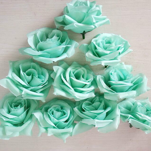 8CM Tiffany Blue High Quality Diy Artificial Fake Silk Rose Flowers Head For Wedding Party Flower