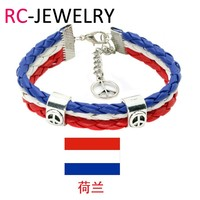 4# Soccer Fans Gift World Cup Netherlands National Flags Sports 3 Strands Rope Braided Surfer Leather Bracelets