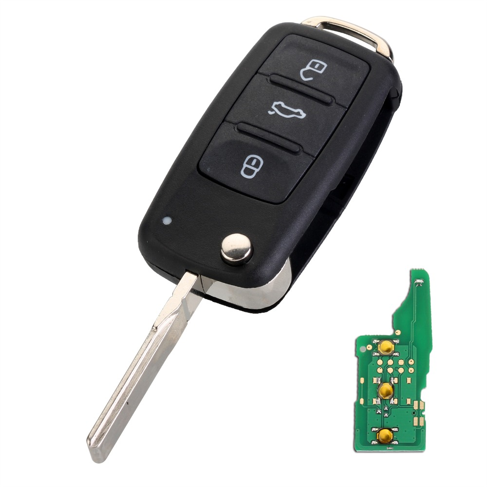 Auto Car Key 434MHz ID48 5K0837202AD Chip 3 Button Remote Car Key Case Shell Replacement for VW GOLF PASSAT Tiguan Polo D25