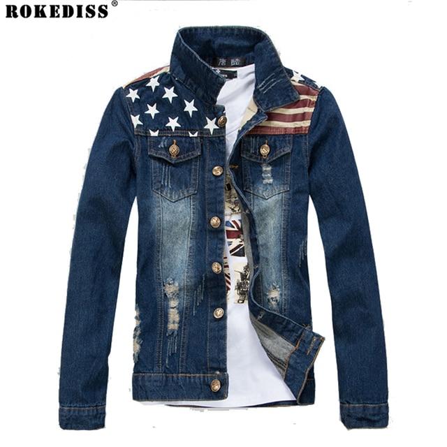 2016 USA Design Jeans Jacket Men American Army Style Denim Jacket Ripped Hip hop Jacket Striped Jeans Tops Plus Size TC457
