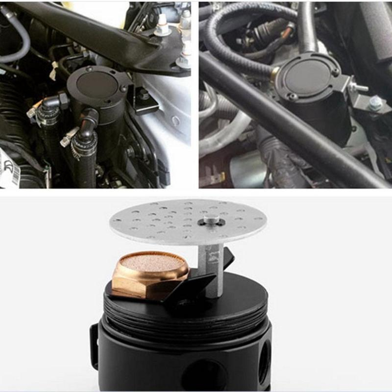 Universal Compact Baffled 2-Port Aluminum Oil Catch Can Reservoir Tank Oil Catch Can Fuel Tank Parts Two Hole Breathable Kettle