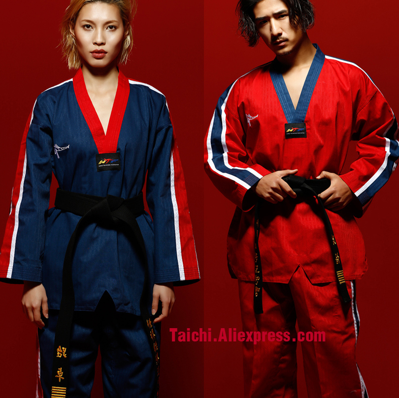 Adult Taekwondo Clothes Long Sleeve Men And Women   Taekwondo Clothing New Product Red,black,blue,white