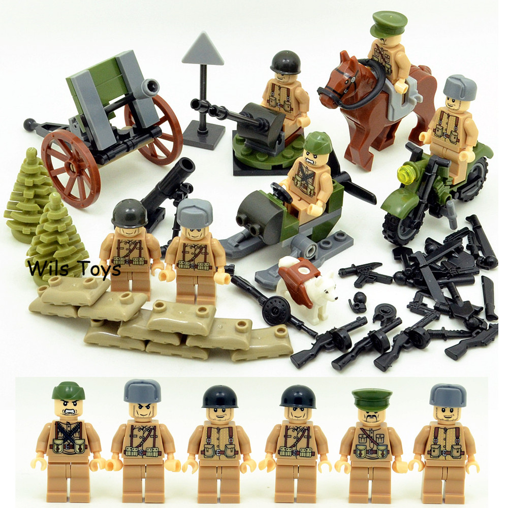 6pcs Russian Army MILITARY Special Forces Snow Soldiers WW2 CS SWAT Building Blocks Figures Educational Toys Gifts Boys Children