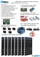 800W Solar Home off grid tie systems sea shipment 8* 100W mono solar modules bracket 2000W inverter 5* 100AH battery DIY