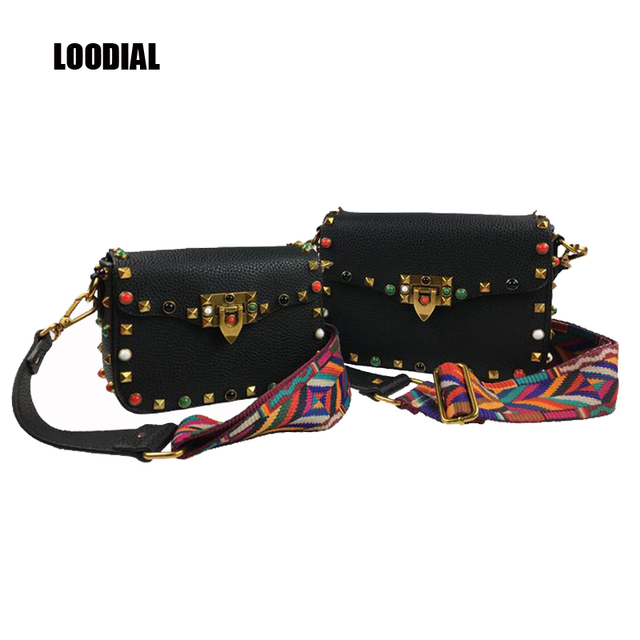 New Europe Street Fashion Women Bag Turquoise Color Rivet Flap Color Woven Wide Shoulder Strap Messenger Bags You