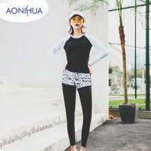 Aonihua Sport Two Piece Swimsuit For Women Tight Long Sleeve Swim Wear Style Batching Surfing Swimsuits