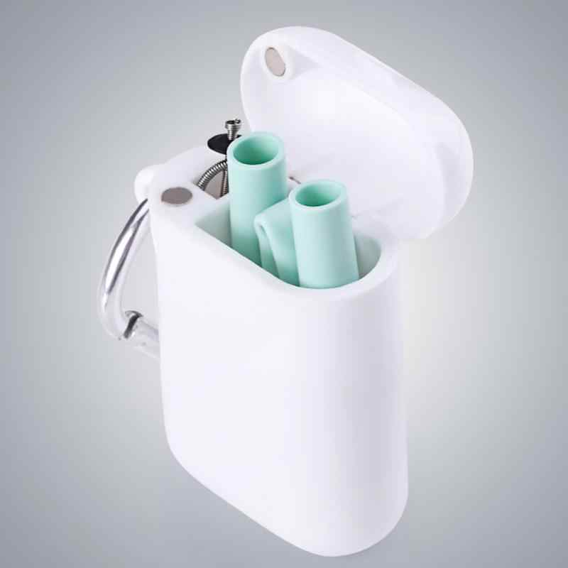 Bar Accessories Portable Collapsible Reusable Cleaning Brush Metal Steel Drinking Straws Party Bent Travel With Case Silicone