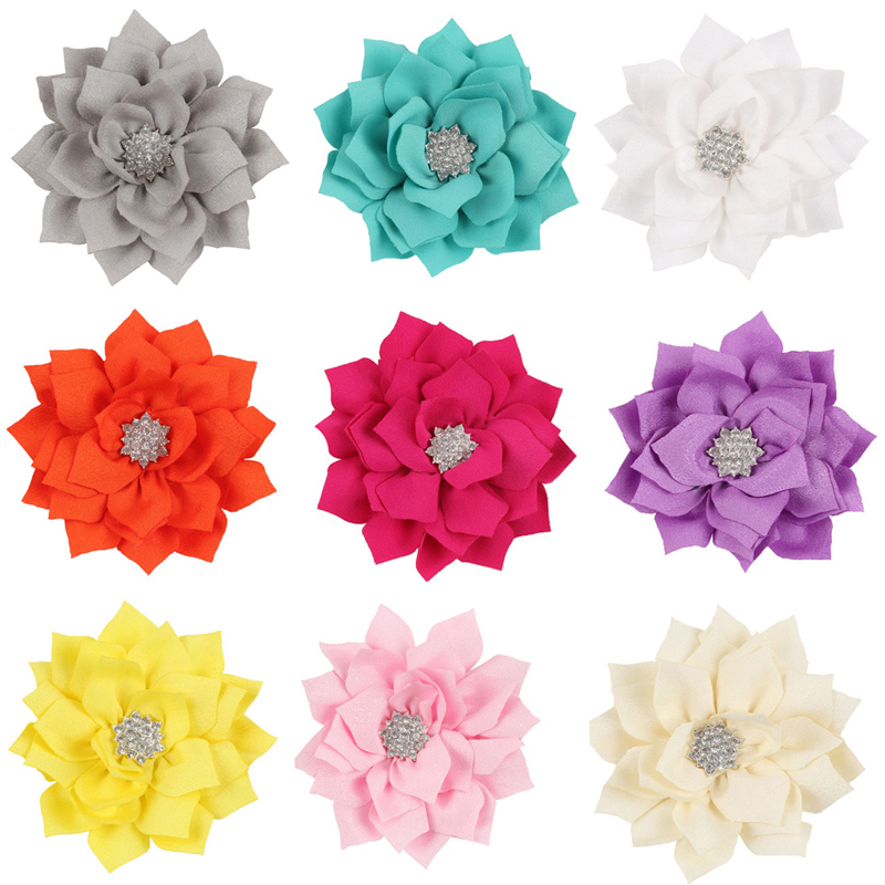 Sale 1 Pc Multicolor Kids Girls Rhinestone Crystal Beautiful Lotus Flowers (NO CLIP) For DIY Hair Clip Hair Accessories все цены