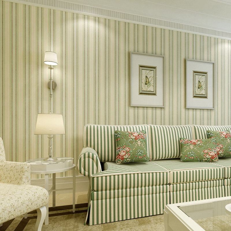 Beibehang american retro green vertical striped wallpaper for Striped wallpaper bedroom designs