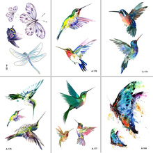 Wyuen Bird Temporary Tattoo for Adult  Waterproof Tatoo Stickers Body Art Beautiful 3D Butterfly Fake Women AA-006