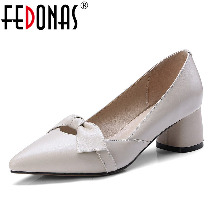 FEDONAS Sexy Women Bowknot Buckle High Heels Pumps Spring Autumn Pointed Toe Genuine Leather Shoes For Woman Ladies Single Shoes women pumps sexy open toe lace fashion pointed toe high heels new style shallow classic spring autumn single shoes ladies