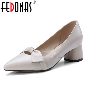 332dc235394a Read More FEDONAS Sexy Women Bowknot Buckle High Heels Pumps Spring Autumn  Pointed Toe Genuine Leather Shoes For Woman Ladies Single Shoes