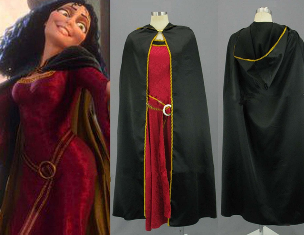 Mother Gothel Costume Rapunzel Tangled Princess Cosplay Dress Cloak Set Outfits