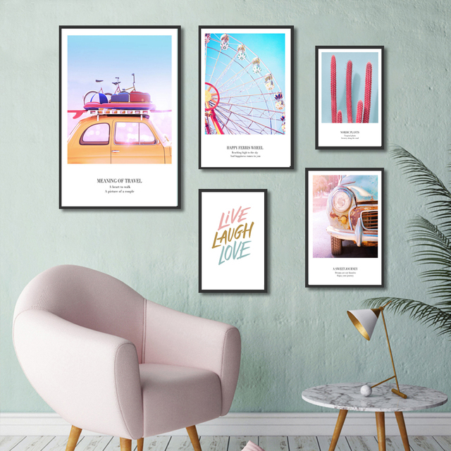 Balloon Sky Wheel Travel Posters And Prints Love Quotes Nordic Decoration Home Wall Art Picture