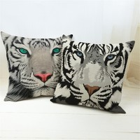 2019 hot sale cotton Linen Cushion  cover 3D Tiger Printed 43x43cm For Sofa home Decorative Cotton Throw  pillow cojines