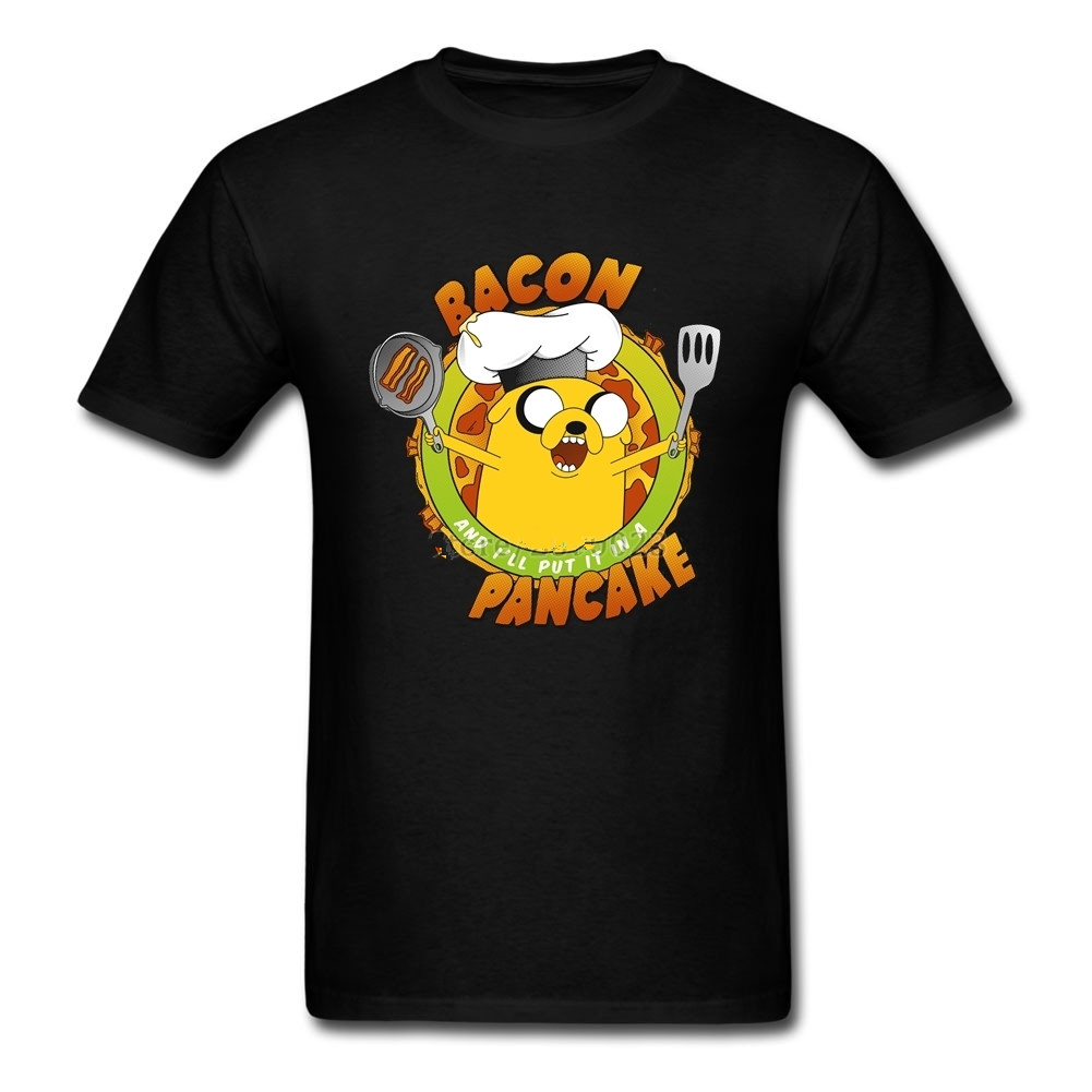 Summer Style Hip Hop Tops Create Bacon Pancake Anime Adventure Time Homme Soft Cotton Men Tshirt Brand-clothing Over Size