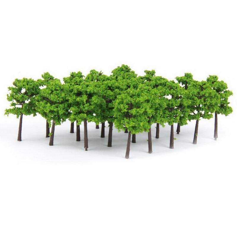 New Arrival 40pcs Green Plastic Model Trees Train Railroad Scenery 1:250