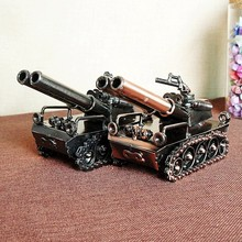 World War II handmade wrought iron double gun tank model Personalized metal Creative birthday gift Decoration home decoration недорого