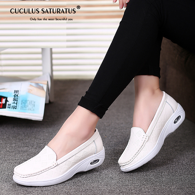 Cuculus Women Nurse Flats Shoes genuine   Leather   Slip on Moccains Ladies round toe White Loafers Flat Women Sneakers Autumn