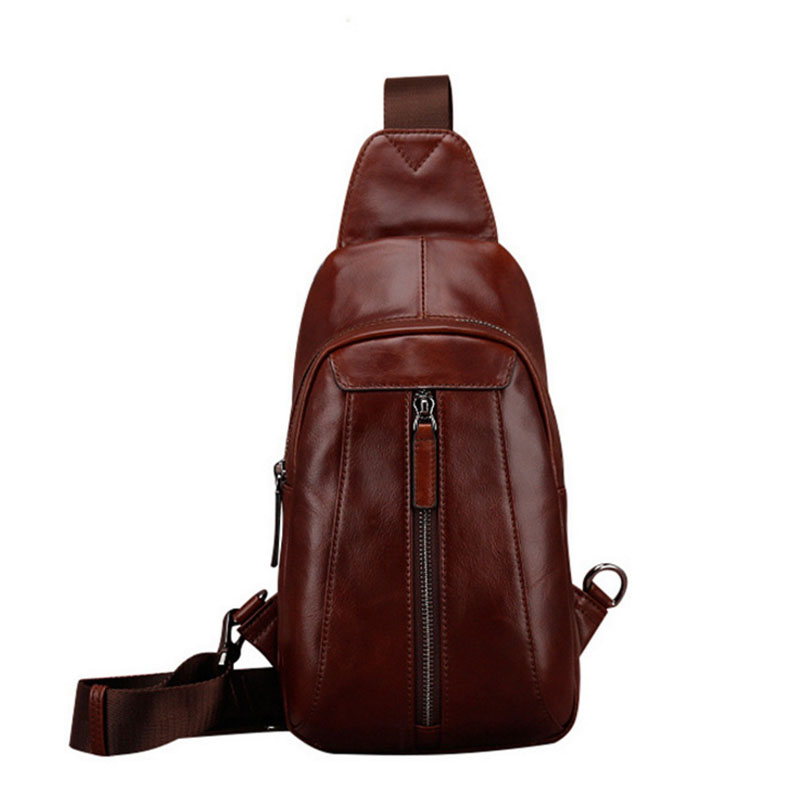 Men High Quality Genuine Leather First Layer Cowhide Sling Chest Bag Vintage Travel Mess ...