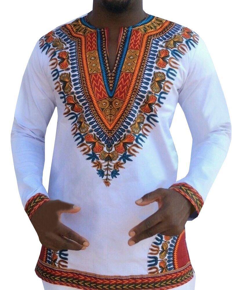 Men African Dashiki Robe Traditional Bazin Riche African