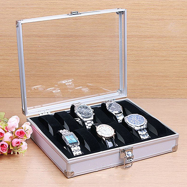 2018 New High Quality 6/12 Grid Aluminium Watch Box Display Case Box Jewelry Col
