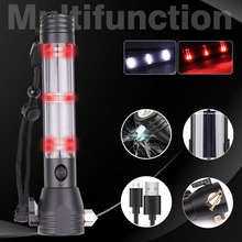 10000ml Solar Power LED Flashlight 9 in 1 Multi-Functional T