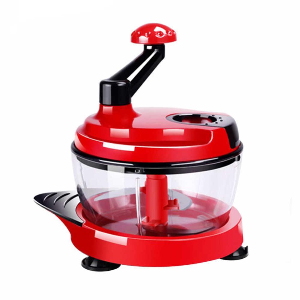 2L Cozinha Misturador de Ovos Ovo Manual Do Processador de Alimentos Liquidificador Moedor de Carne Vegetal Chopper Shredder Cortador De Lâmina De Aço Inoxidável