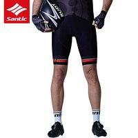 Santic Ciclismo Shorts Dos Homens Do Esporte Da Bicicleta Downhill Shorts Triathlon Reflexivo Preto Almofada de GEL MTB Shorts Quick Dry Shorts Da Bicicleta