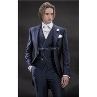 2016New Ontwerp Ochtend stijl Marineblauw Bruidegom Tuxedos Groomsmen mannen Wedding Suits Beste man Suits (Jas + Broek + Vest + Tie)