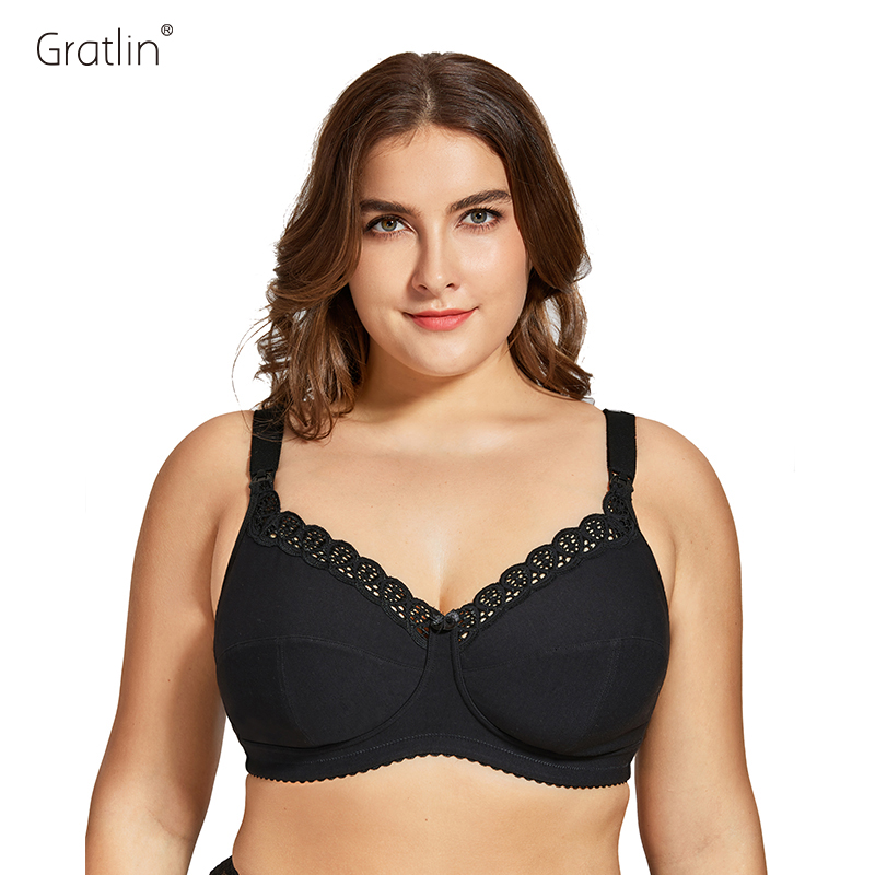Women's Plus Size Breastfeeding Nursing Bra Cotton Wirefree Soft Maternity Bra with Lace Trim