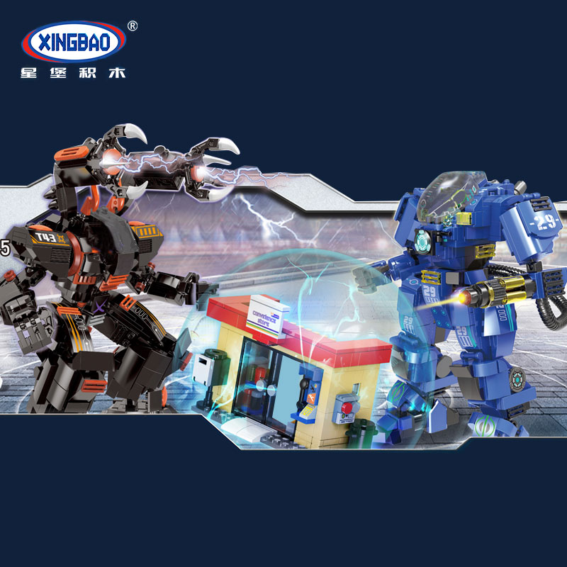 XingBao 02105 New Kids Toys City Series The Mech Battle Set Model Building Blocks Bricks Toys For Kids Birthday Christmas Gifts 4pcs ww2 the battle of black forest militray model building blocks set army german soldier minifigures bricks toy for kids gifts