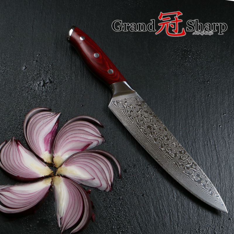 GRANDSHARP 8 Inch Professional Chef font b Knife b font Japanese Damascus Stainless Steel VG 10