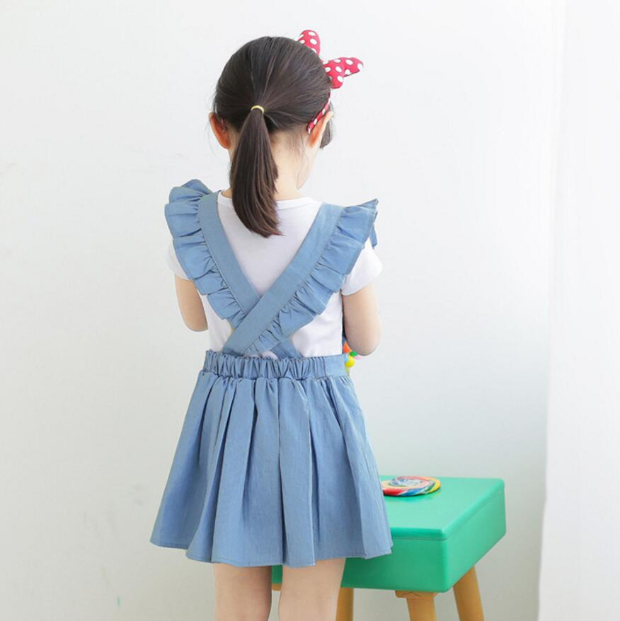 New Summer Jean Back Cross Dresses For Girls Princess, Children Baby Teenage Solid Cowboy Clothing new summer